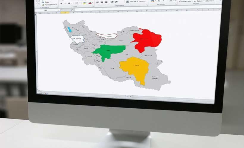 وکتور نقشه ایران به تفکیک استانها