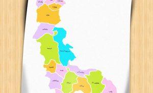 نقشه تفکیکی شهرهای استان آذربایجان غربی