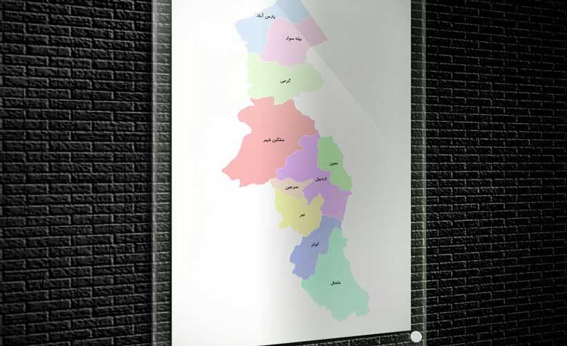 نقشه تفکیکی شهرهای استان اردبیل