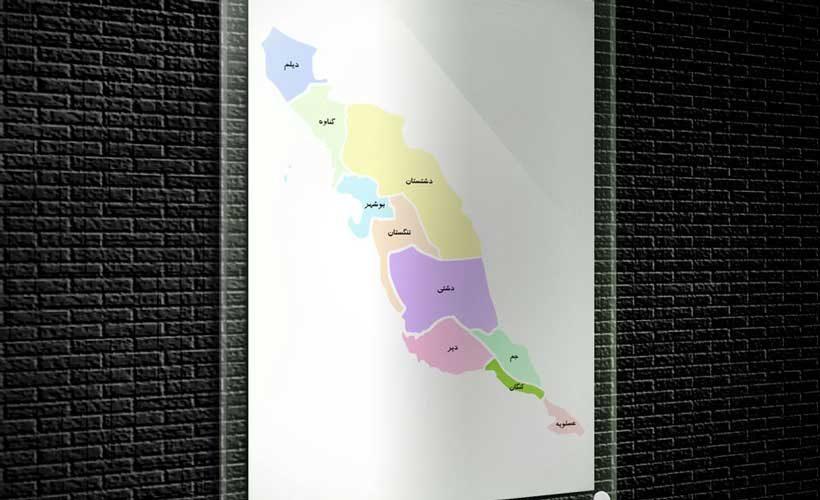 نقشه تفکیکی شهرهای استان بوشهر
