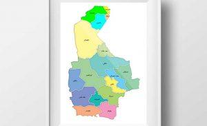 نقشه تفکیکی شهرهای استان سیستان و بلوچستان