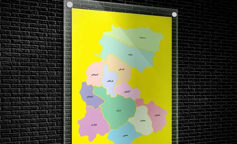 نقشه تفکیکی شهرهای استان مرکزی