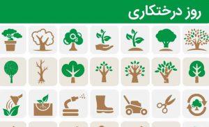 مجموعه پیکتوگرام های روز درخت کاری