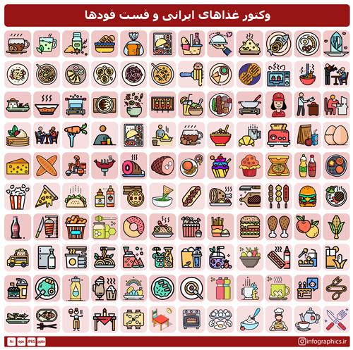 وکتور غذا های ایرانی و فست فودها